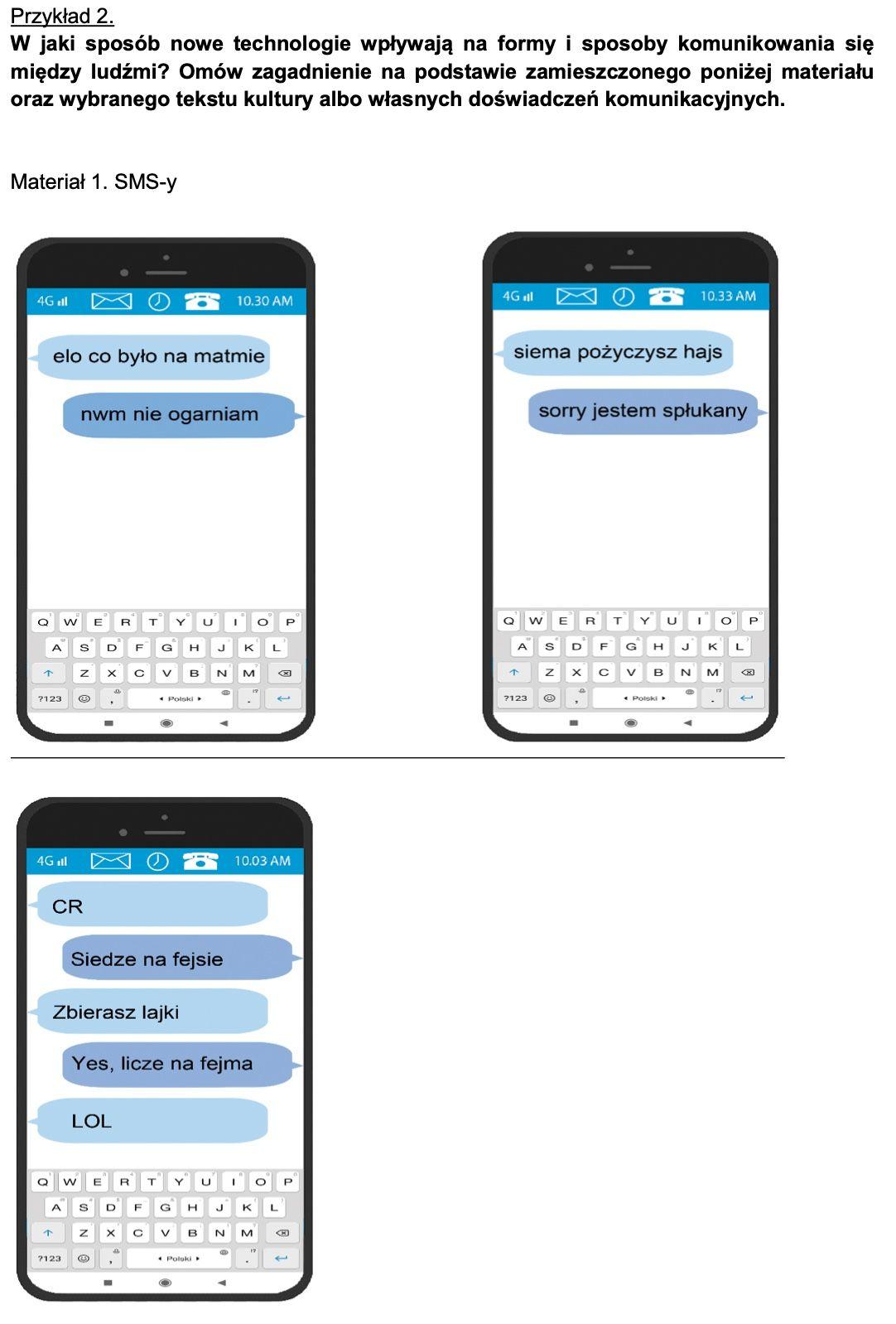 matura ustna pula pytań niejawnych 2023 informator sytuacja komunikacyjna tekst językowy sms