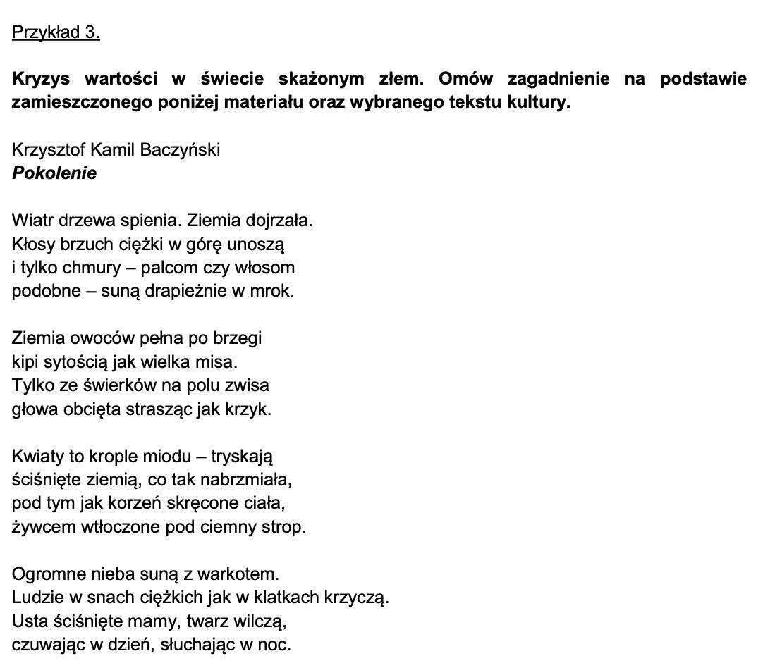 matura ustna pula pytań niejawnych 2023 informator tekst literacki wiersz Baczyński pokolenie